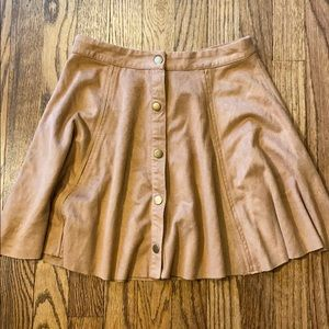 Faux suede snap front skirt